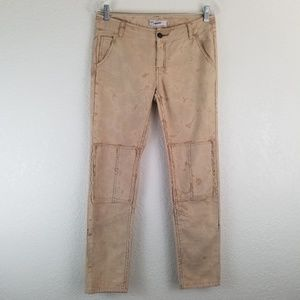 Free People marbled Khaki Patched Skinny Jean A9